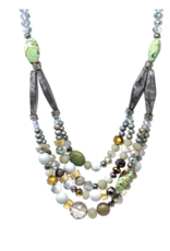 Blue Suede Jewels Marble Bead Layered Necklace