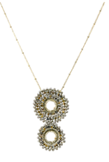 Blue Suede Jewels Glass Beaded Double Disc Pendant Necklace