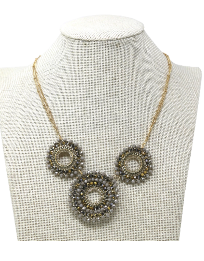 Blue Suede Jewels Glass Beaded Short Disc Necklace