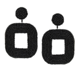 Blue Suede Jewels Black Seed Bead Geometric Earrings