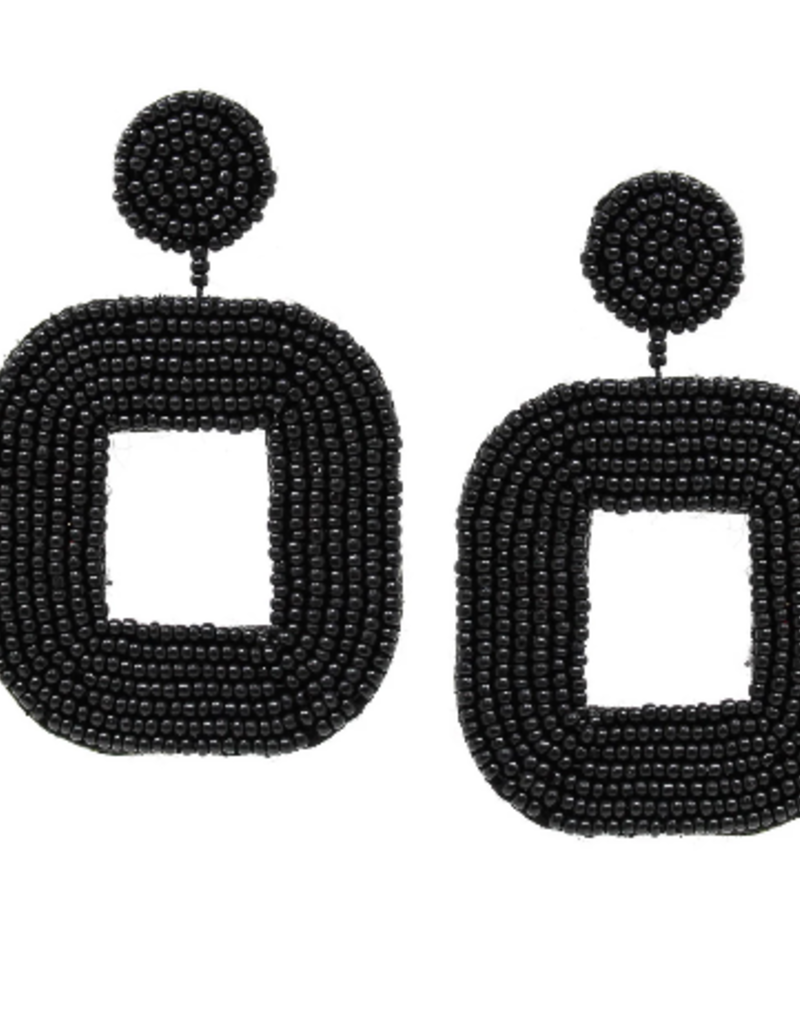 Blue Suede Jewels Black Seed Bead Geometric Earrings