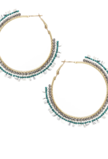 Blue Suede Jewels Beaded Hoop Earrings