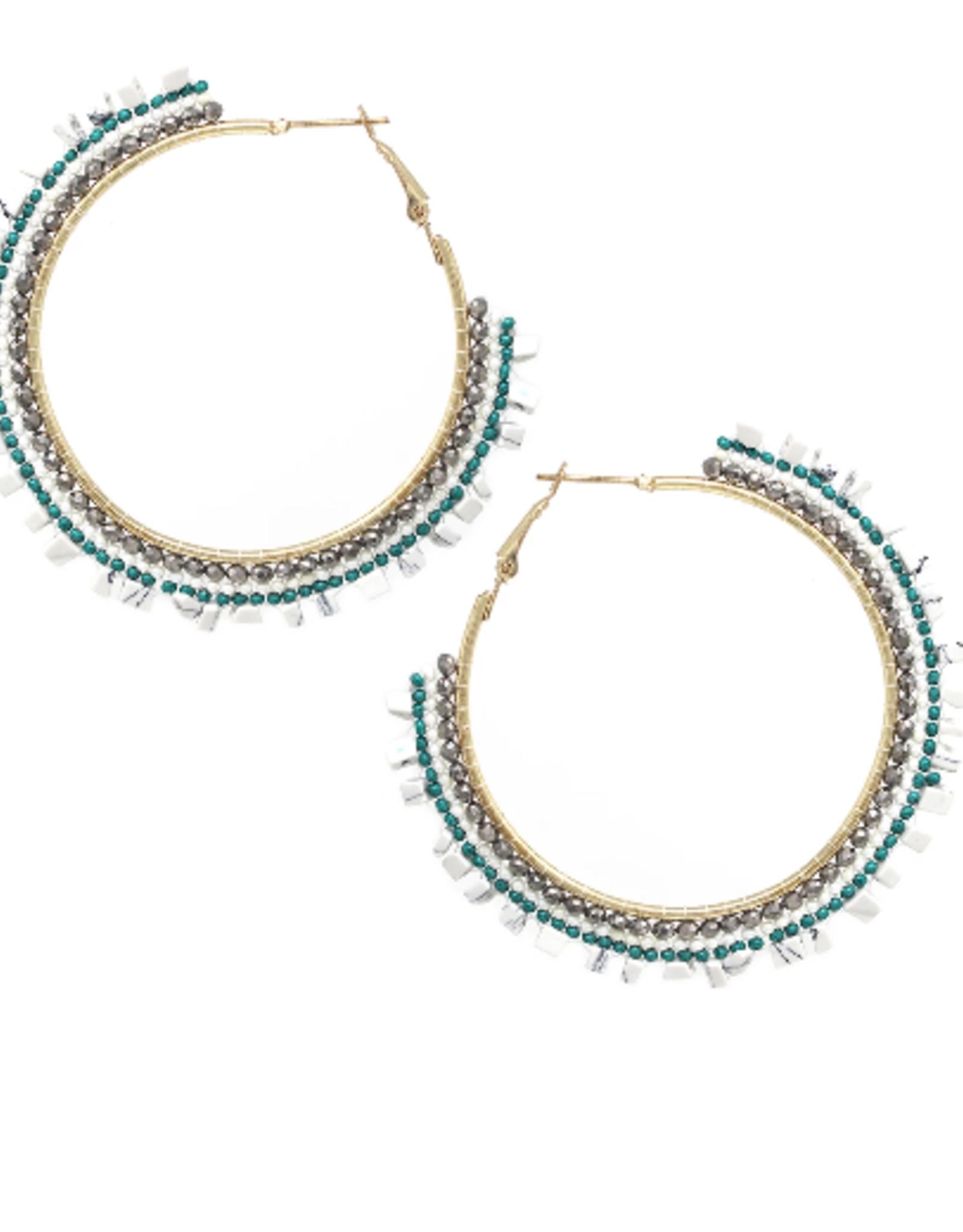 Blue Suede Jewels Beaded Hoop Earrings