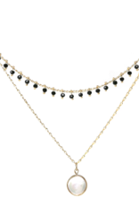 Blue Suede Jewels Pearl / Beaded Layered Fringe Necklace
