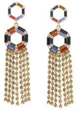 Blue Suede Jewels Rhinestone Pave Fringe Earrings