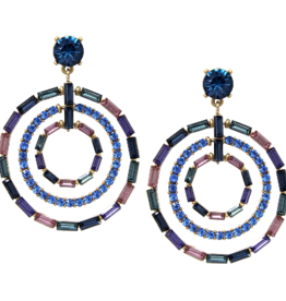 Blue Suede Jewels Pave Triple Hoop Earrings