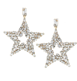 Blue Suede Jewels Rhinestone Star Earrings