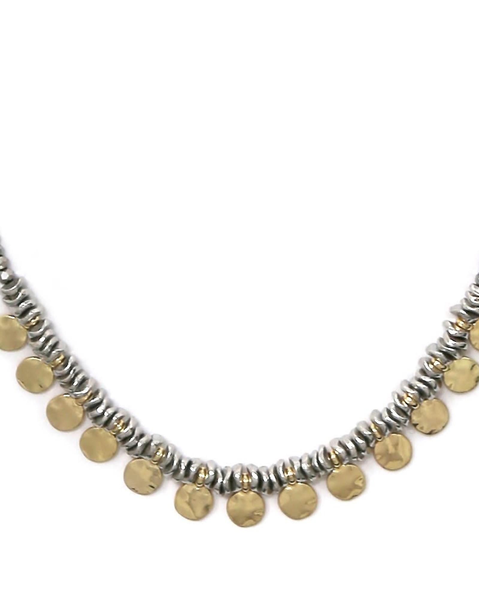 Blue Suede Jewels Hammer Textured Mini Disc Fringe Necklace
