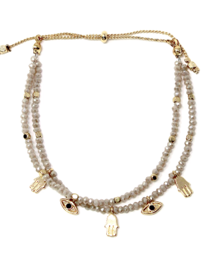 Blue Suede Jewels Mini Hamsa Evil Eye Charm Beaded Bracelet