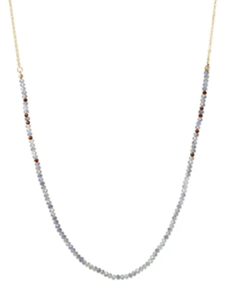 Blue Suede Jewels Glass Beaded Long Necklace