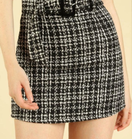Honey Punch High Waisted Belted Tweed Skirt