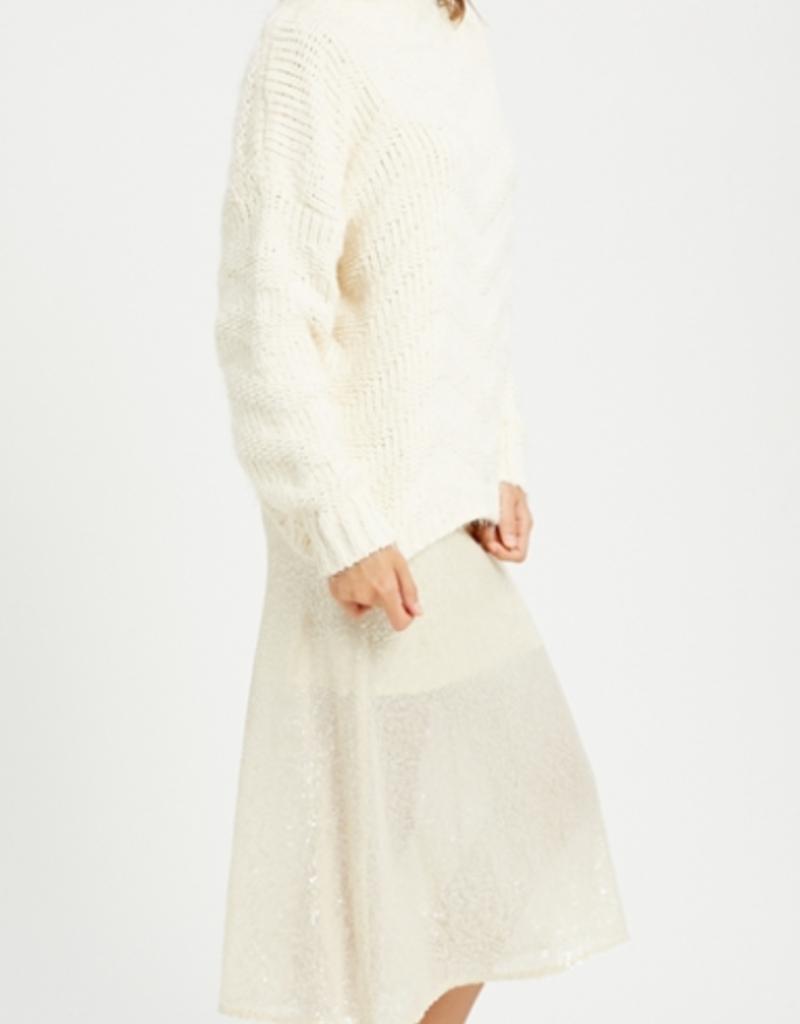 Wishlist Chevron Mock Neck Sweater
