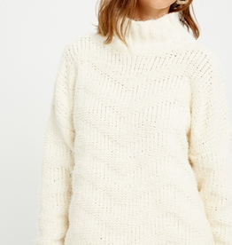 Wishlist Chevron Mock Neck Sweater