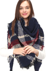 LIB Plaid Check Square Blanket Scarf with Fringes