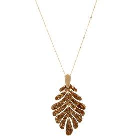 Blue Suede Jewels Textured Acetate Leaf Necklace