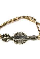 Blue Suede Jewels Rhinestone Pave Disc Charm Metal Beaded Stretch Bracelet