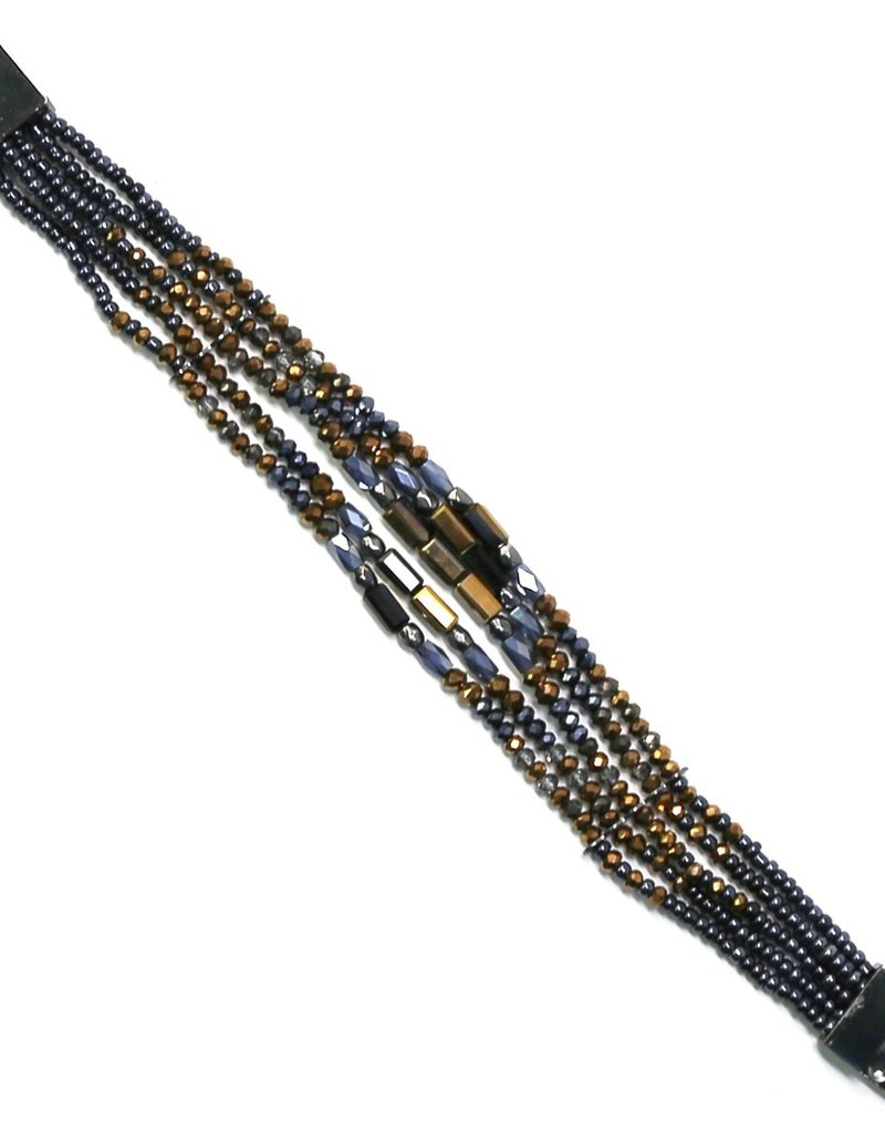 Blue Suede Jewels Glass Beaded Multi Strand Magnetic Bracelet