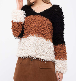 Blu Pepper Shaggy Popcorn Knit Color Block Sweater