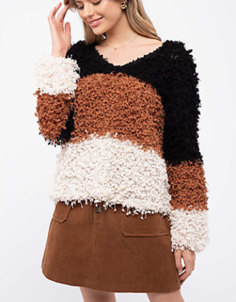 Blu Pepper Shaggy Popcorn Knit Colorblock Sweater