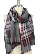 LIB Plaid Double Side Oblong Scarf