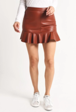 BB Dakota Ruffle Edge Faux Leather Skirt
