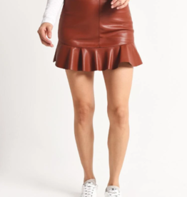 BB Dakota Ruffle Edge Faux Leather Skirt
