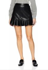 BB Dakota Black Ruffle Edge Faux Leather Skirt