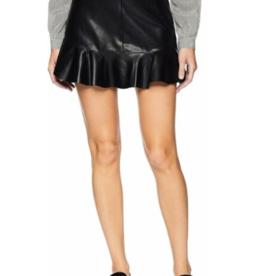 BB Dakota Black Ruffle Edge Faux Leather Skirt