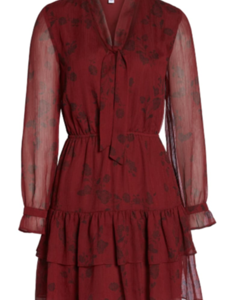 BB Dakota Red Chiffon Tie Neck Dress