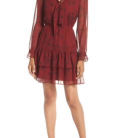 BB Dakota Red Chiffon Tie Neck Dress