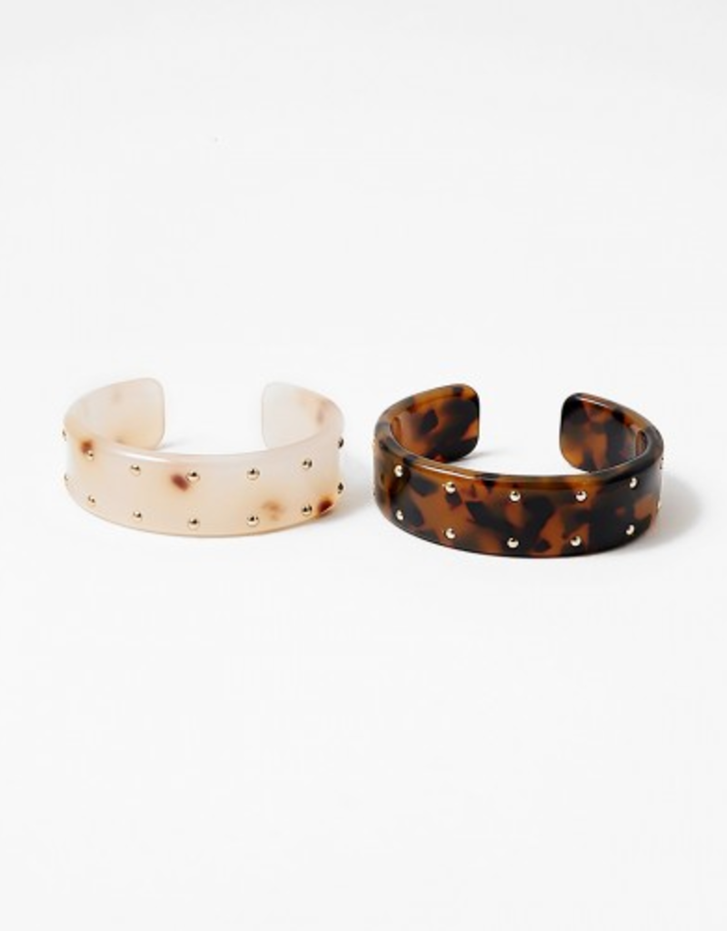 Blue Suede Jewels Resin Cuff with Gold Dots