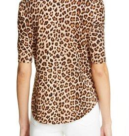 Rebecca Taylor Leopard Print Linen Slub Jersey Top