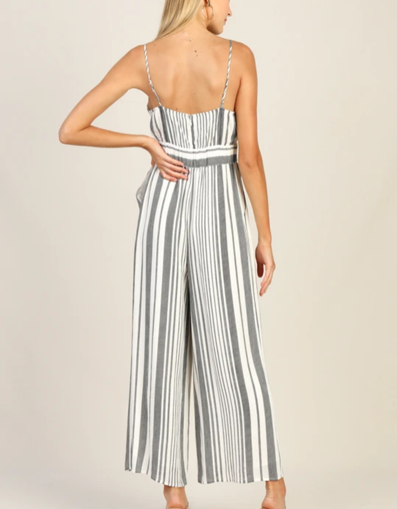 Skies Are Blue Front Cinched Bow Striped Jumpsuit