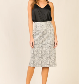 Skies Are Blue Snake Print Midi Skirt