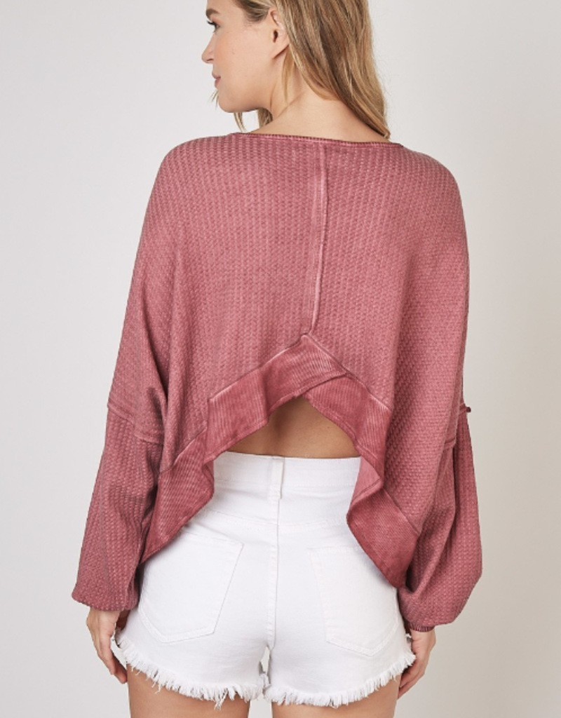 Mustard Seed Open Back Cranberry Top
