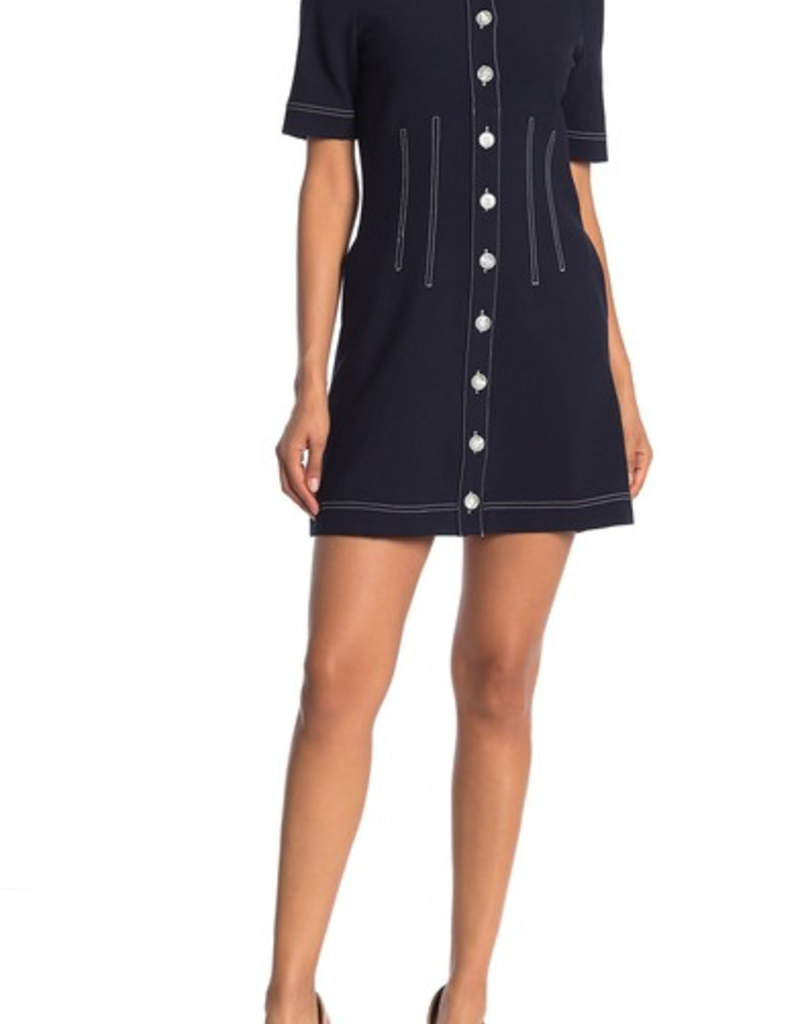 Veronica Beard Mikel Contrast Stitch Mini Dress
