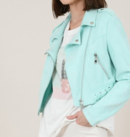 Molly Bracken Mint Faux Suede Cropped Jacket