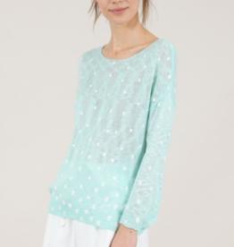 Molly Bracken Mint Heart Patterned Sweater