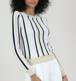 Molly Bracken Gold & Black Vertical Striped Sweater