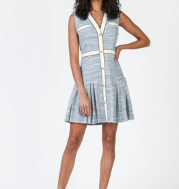 Current Air Button Front Slvls Dress with Pleated Hem