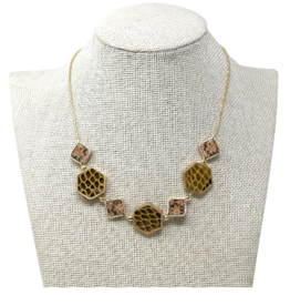 Snake Skin Geometric Bead Short Necklace