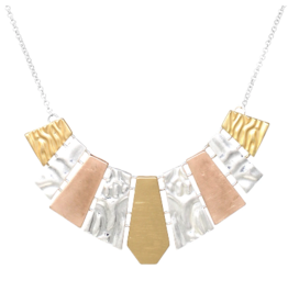 Tri-Tone Color Metal Bib Statement Necklace