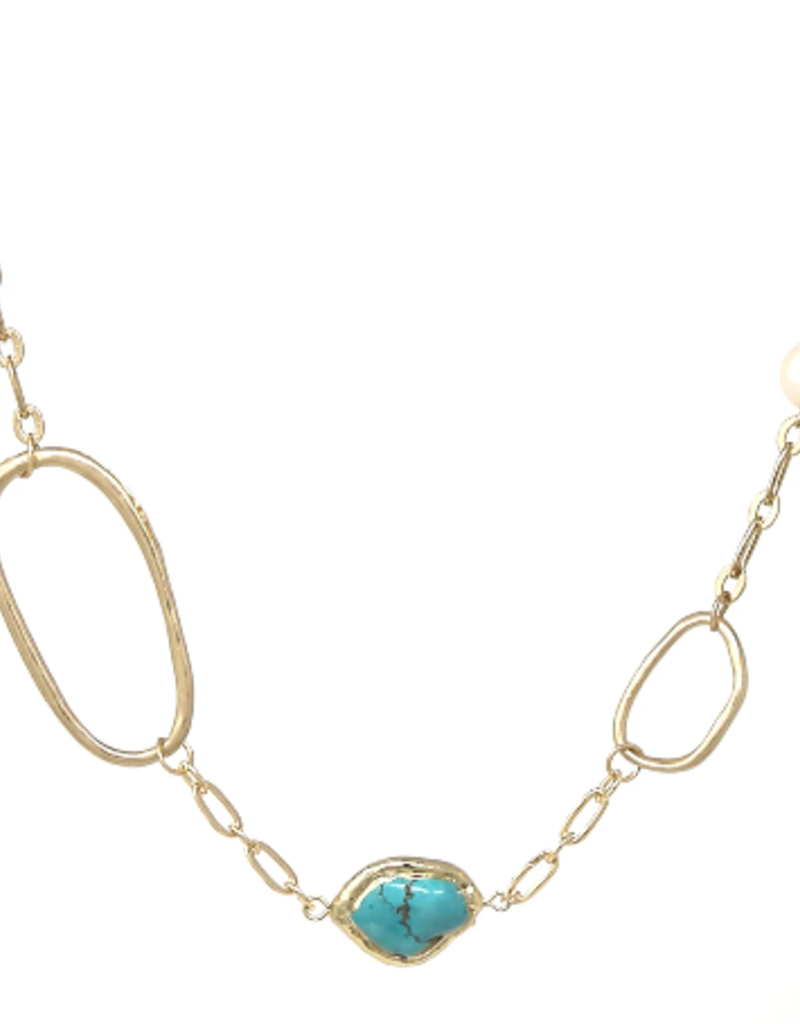 Natural Stone Freshwater Pearl Short Necklace