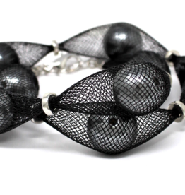 Mesh Covered Pearl Bead Wrap Bracelet
