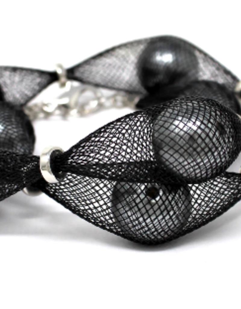 Mesh Covered Pearl Bead Wrap Bracelet