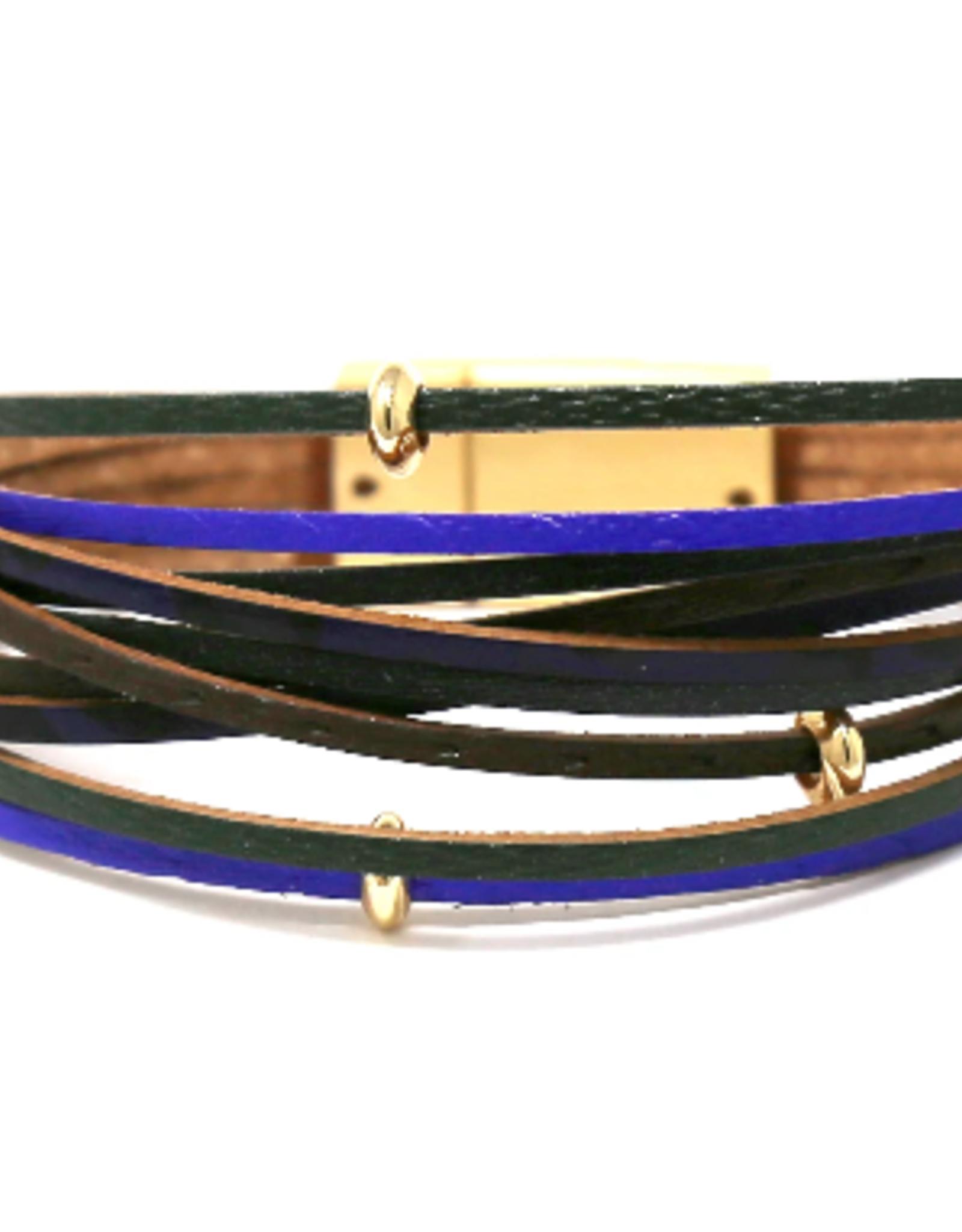 Metal Bead Textured Faux Leather Bracelet