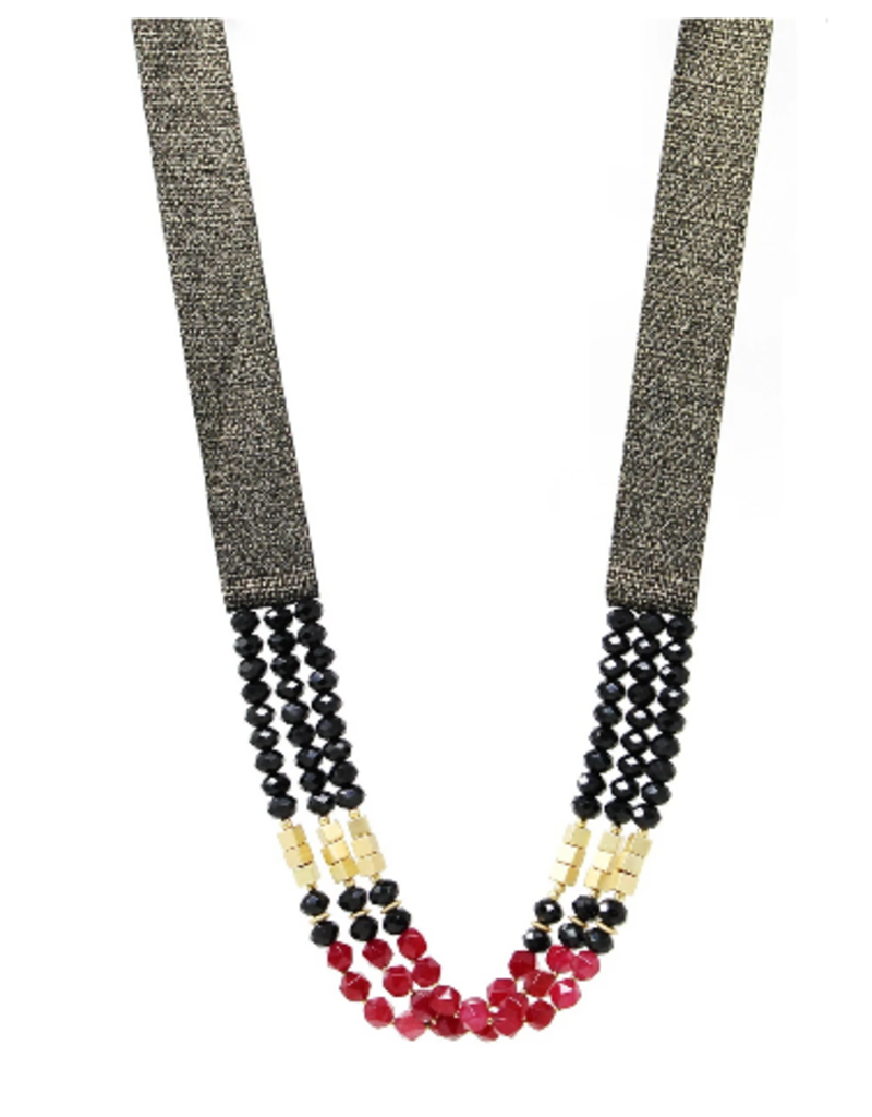 Beaded Thick Ribbon Long Necklace