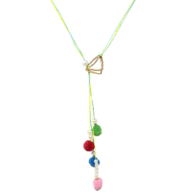 Pom Pom Layered Thread Long Necklace
