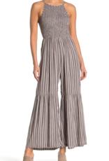 Angie Smocked Stripe Print Jumpsuit