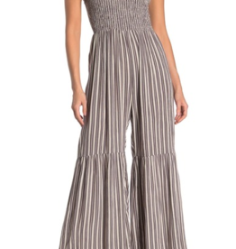 Angie Smocked Stripe Print Jumpsuit